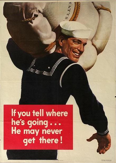 Navy - if you tell where he's going, he may never get there WW2 Poster