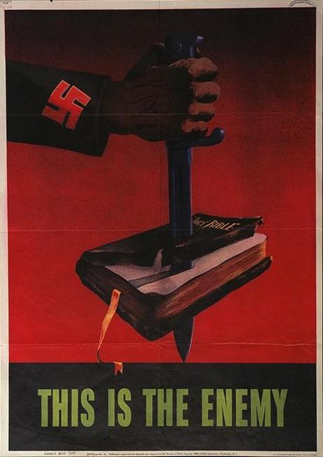 knife stuck thru bible -this is the enemy- WW2 Poster