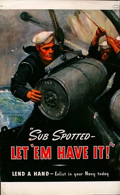 Navy - Sub spotted...let 'em have it WW2 Poster