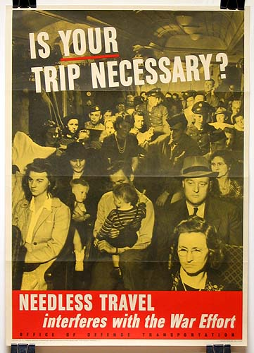 Is your trip necessary WW2 Poster