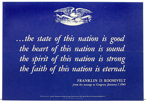 Franklin D Roosevelt message to congress 1943 WW2 Poster