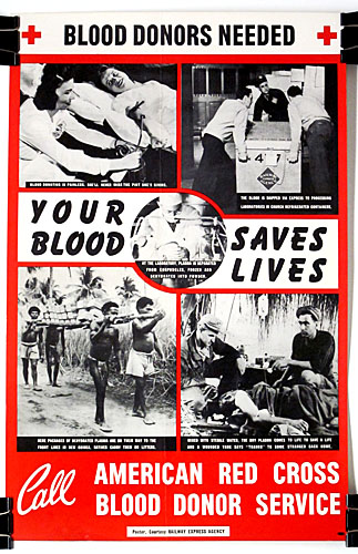 Blood donors needed WW2 Poster