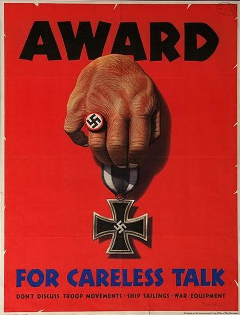 Award for careless talk WW2 Poster