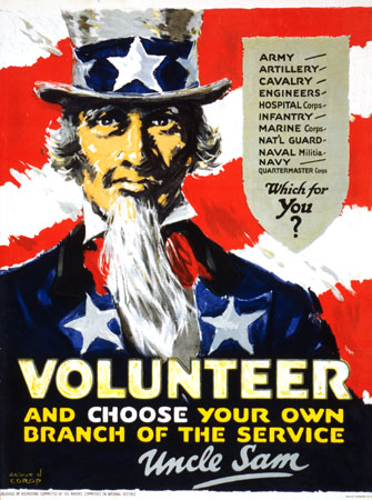 Volunteer for any branch of service WW2 Poster