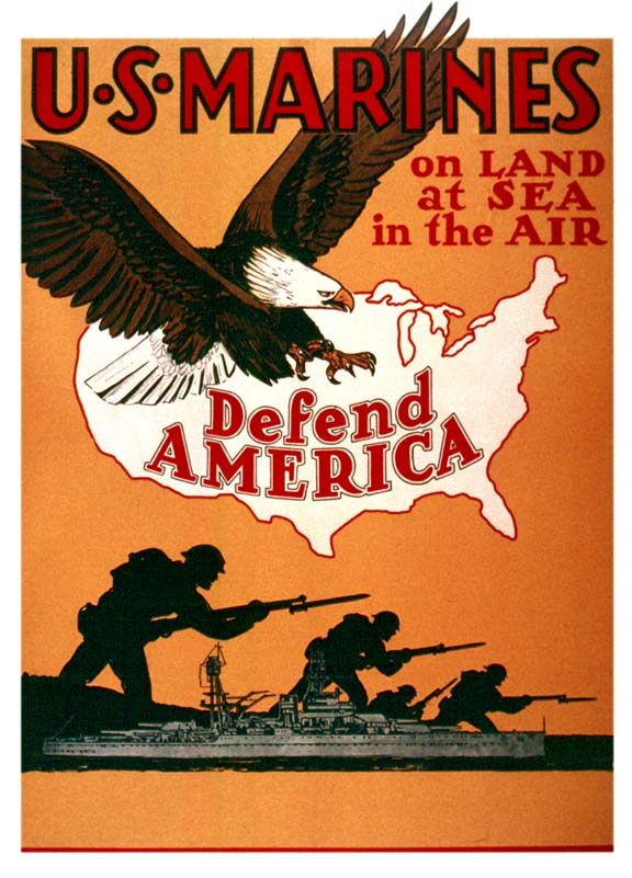 USMC Defend America WW2 Poster