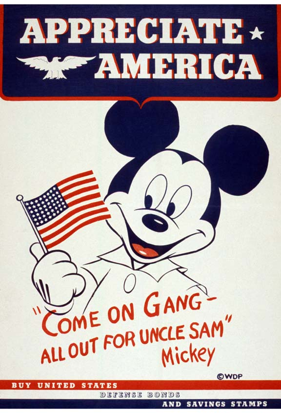 Mickey Mouse Appreciate America WW2 Poster