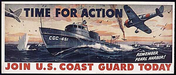 Coast Guard for action WW2 Poster